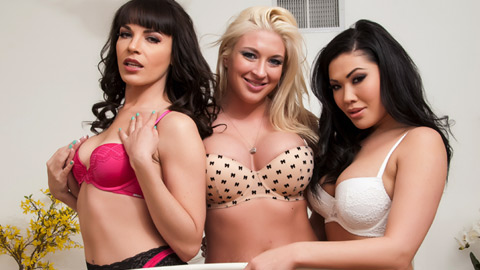 Violent threeway girl scene with spit choking and foot fetish.